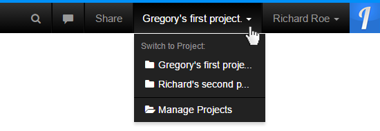 Switch Project Dropdown
