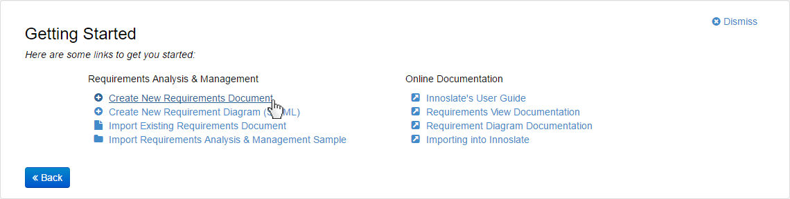 Click Create New Requirements Document Link