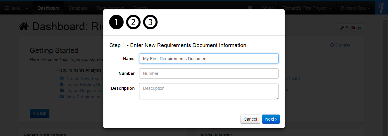 Step 1 - Enter New Requirements Document Information