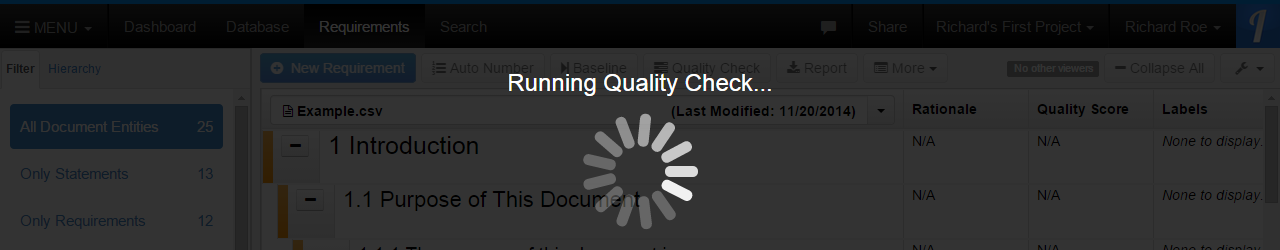 Quality Check Running