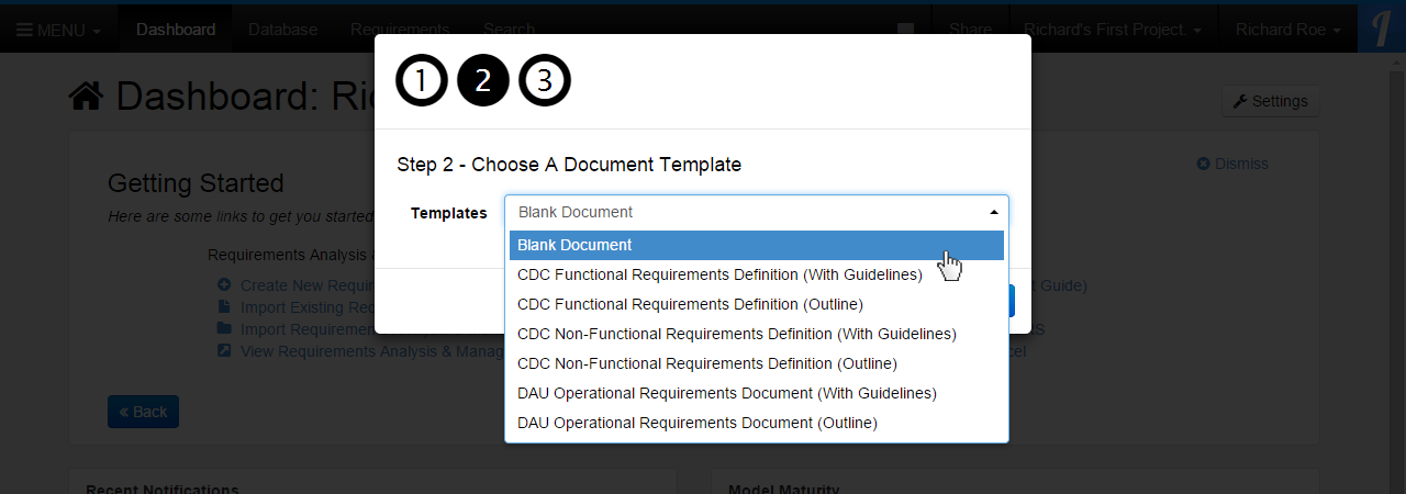 Step 2 - Choose A Document Temlpate