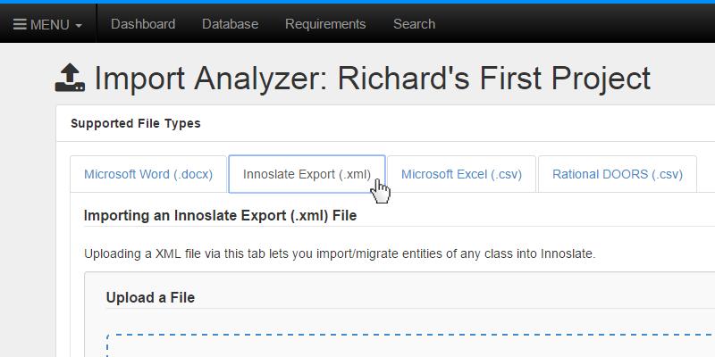 Select Innoslate Export XML Tab