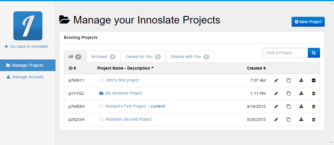 Manage Projects Page