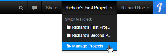 Select the Manage Projects Menu Item