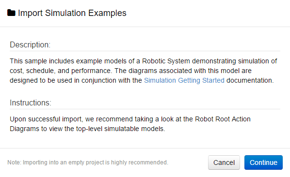 Import Simulation Examples Dialog