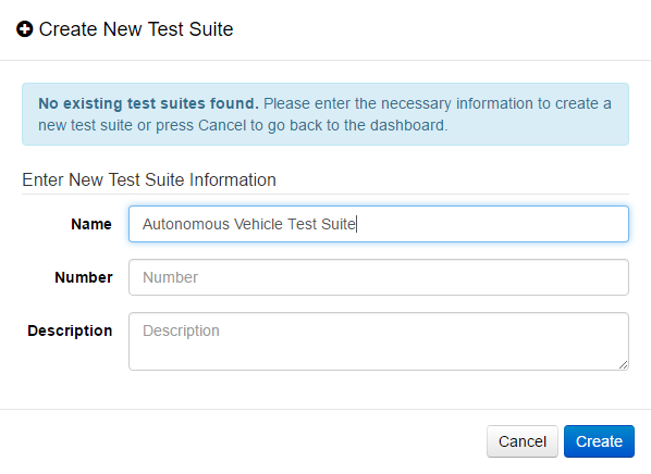 Create New Test Suite Dialog