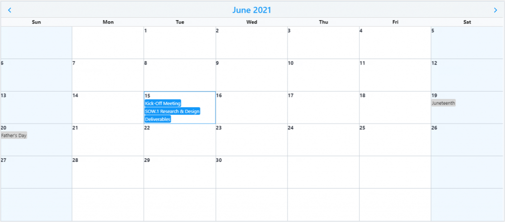 Calendar Search Result Highlight
