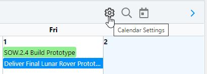 Calendar Settings Button