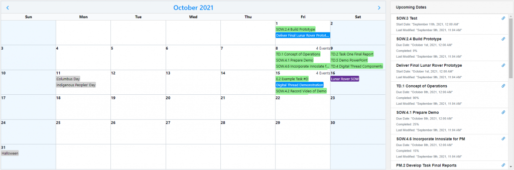Project Management Calendar and Upcoming Dates Widgets