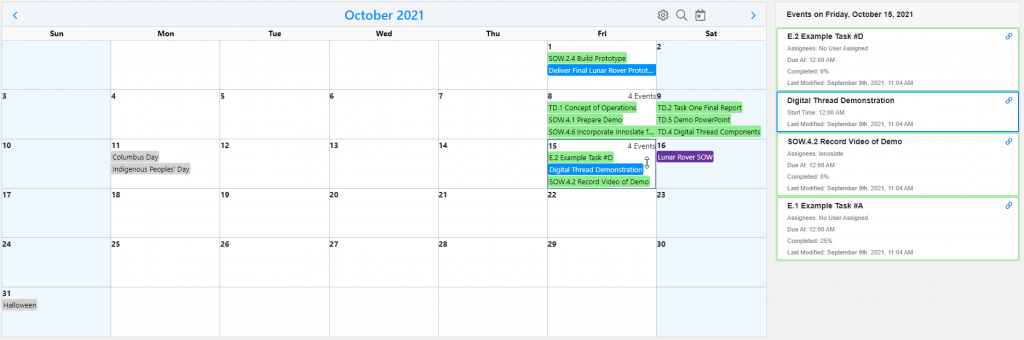 Project Management Calendar and Upcoming Dates Widgets with Day Selected