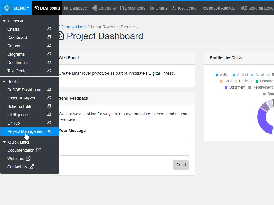 Project Management Menu Link