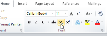 Microsoft Word Superscripts and Subscripts Buttons