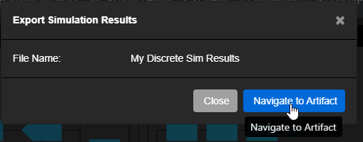 Export Simulation Results Modal Navigate to Artifact
