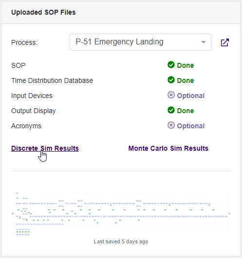 Uploaded SOP Files Widget Navigate to Sim Artifact